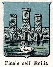 Finale Emilia: Piccolo Stemma del 1901. Modena. Cromolitografia + Passepartout