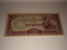 1944 BURMA ~ 10 RUPEES JAPANESE (WW2) Occupation Banknote / Used-Circulated-EXC