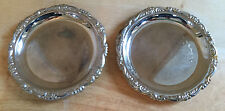 Silverplate Coasters Set of 2 Decorative Rim Engraving Silver Plated EP on Steel