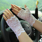 Women's Floral Lace Wrist Gloves Fingerless Gothic Witch Rose Wedding
