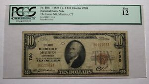 $10 1929 Meriden Connecticut CT National Currency Bank Note Bill #720 F12 PCGS