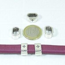 16 Abalorios Para Cuero Regaliz 14mm T283C Plata Tibetana Leather Beads Perline