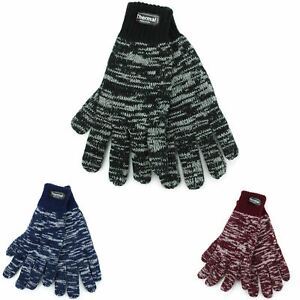 MENS THERMAL GLOVES MARL EFFECT KNIT ELASTICATED RIBBED CUFFS