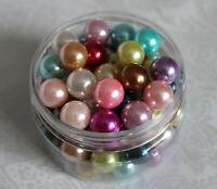 50 / 100 Acryl Perlen Wachsperlen Farbmix 10mm 12mm Schmuck Engel Basteln DIY