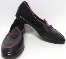 BELGIAN SHOE VNTG BLACK LEATHER BURGUNDY TRIM LEATHER SOLE LOUNGE SHOES SLIPPERS
