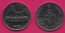 INDIA 50 PAISE 1990N UNC PARLIAMENT BUILDING IN NEW DELHI,SMALL LION,DENOMINATIO