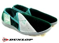 MENS DUNLOP FULL SLIPPERS VELOUR RACING GREEN TWO-TONE TWIN GUSSET SIZE 7 - 12