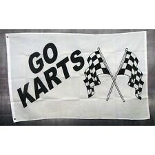New listing Go Karts Flag Banner Sign 3' x 5' Foot Polyester Grommets Black White