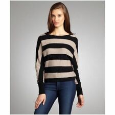 BCBG MaxAzria Camille batwing striped sweater black tan small wool blend