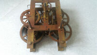 E.N WELCH ANTIQUE WALL CLOCK MOVEMENT - 6 1/2 X 7 INCH - RESTORATION PROJECT