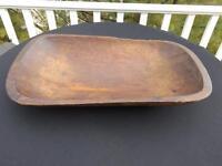 """Primitive Antique Vintage Folk Art Wood Dough Trencher Bowl 20"""" x 11"""" x 3"""""""