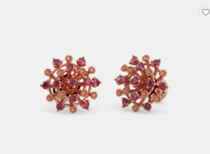 1.10 Ct Red Ruby Silver Sunny Circle Filigree Stud Earring 14K Rose Gold Plated