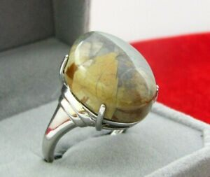 925 Silver ring with beautiful Yemeni onyx stone خاتم فضه مع عقيق جزع يمني