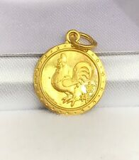 24K Solid Yellow Gold Cute Animal Sign Round Roster Charm/ Pendant. 1.78 Grams