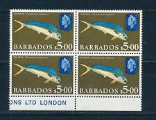 BARBADOS 1966 DEFINITIVE SG355a $5 DOLPHIN FISH BLOCK OF 4 MNH