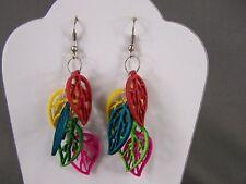 "leaf earrings colorful Multi color wood charm leaves dangle 3"" long lightweight"