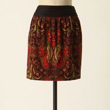 Anthropologie Idra Whizbang Paisley Red Multi Corduroy Mini Skirt Sz 8 Black