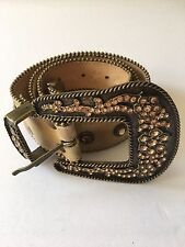 Swarovski Crystal Cow Girl Western Belt - Rustic Gold