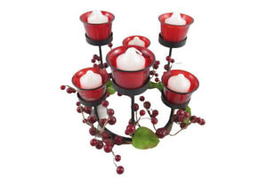 Wrought Iron Votive Candelabra Centerpiece Red With Berry Ring