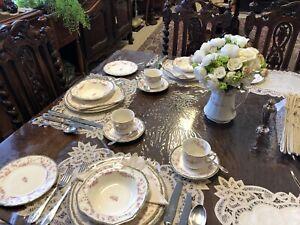 Vintage Alfred Meakin Porcelain Harmony Rose 3 Person Dinner Set w/ Milk Jug