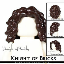 LEGO Minifigure Hair DARK BROWN 20595 Female Girl Long Tousled with Center Part