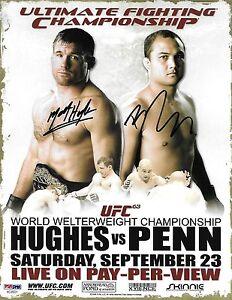 BJ Penn & Matt Hughes Signed UFC 63 8.5x11 Poster PSA/DNA COA 06 Photo Autograph