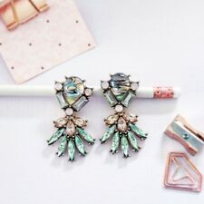 Fashion spring Bloom green & peach crystal stone statement chandelier earrings