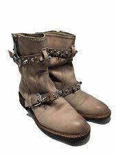 SAM EDELMAN 'ADELE' GRAY LEATHER BOOTS WITH SPIKES, 8, $295