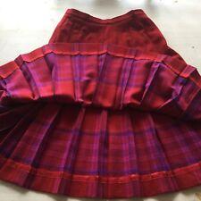 Vintage Pendleton 8 Petite Red Banded Wool Pleated Mid Calf Skirt Modern