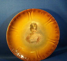 ANTIQUE VICTORIAN LADY PORCELAIN PORTRAIT CABINET PLATE - AIRBRUSHED BROWN