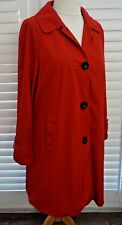 Dennis Basso Red Raincoat Mac Trench Coat Button Up - Size L