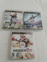 PS3 NFL Football Madden Lot/Bundle 3 Games! Madden 12 15 16