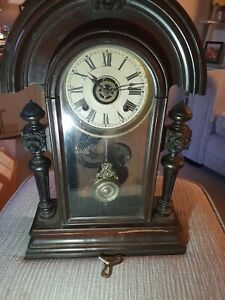 Wooden tall mantle clock not tested