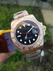 Mens Parnis Homage Watch Sterile Yatch Rose Gold Automatic Submariner