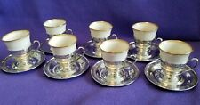 7 Sterling Silver (not plated) Demitasse Espresso Cups with Lenox liners.