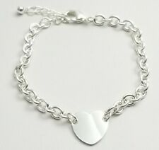 """Heart Silver Plated Bracelet  Loop Chain 6-7.25"""" Gift Valentine Mom"""