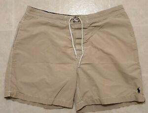 Polo Ralph Lauren Sz XL Big Beige Tan Cotton/Nylon Swim Trunks Men's