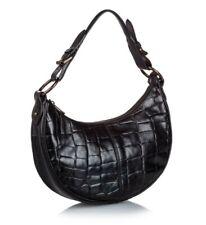 Mullberry Black croc embossed leather shoulder bag