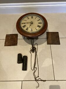"""Antique wooden 12"""" Round Wall Clock with chain and weights"""