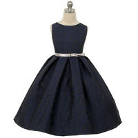 New Navy Blue Flower Girl Dress Wedding Bridesmaid Formal Birthday Pageant Party