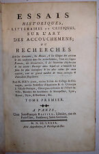 ESSAIS HISTORIQUES LITTÉRAIRES et CRITIQUES sur L'ART des ACCOUCHEMENS, SUE 1779