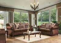 Traditional Living Room Wood Trim & Brown Fabric Sofa Couch & Loveseat Set IRCT