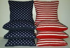 Set Of 8 All Weather American Flag Cornhole Bags Stars/Stripes *Free Shipping*