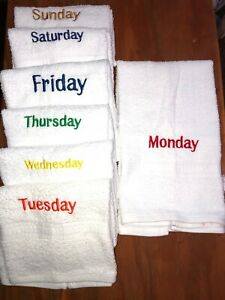 Embroidered White Bathroom Hand Towel w Cloth  Set  DAYS OF THE WEEK 14 pc set