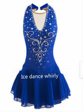 Ice skating dress Competition Figure Skating Twirling Costume adult child blue