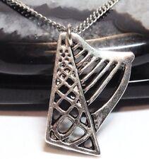 "CELTIC HARP_Pendant on 18"" Chain Necklace_Irish Ireland Knot Myth Silver_236N"