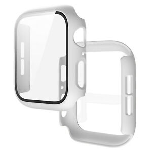 Apple Watch Series 4 5 6 SE Full Cover Snap On Matte Case Built in Glass Screen