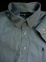 POLO Ralph Lauren  mens 18 34/35 Blue Stripe cotton BUTTONDOWN dress shirt