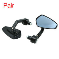 """Pair Black 7/8"""" 22mm Motorcycle Handle Bar End Rearview Side View Mirrors"""