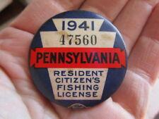 Vintage 1941 PennsylvaniaFishing License / Numbered Pinback Badge (2)